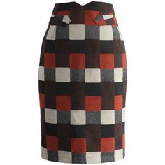 Chicwish Color Blocks Pencil Skirt in Check