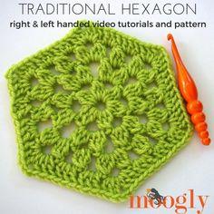 Traditional Hexagon Motif Tutorial | AllFreeCrochetAfghanPatterns.com