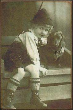 Wood Magnet~Dachshund~Dog~Little Boy~Vintage Style Photo Print~90