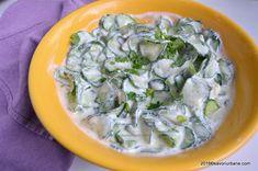 Salata de castraveti cu lapte batut si iaurt. Salata de castraveti cu iaurt, dietetica, fara maioneza. O salata de vara sanatoasa si Romanian Food, Healthy Nutrition, Carne, Potato Salad, Spinach, Vegetarian Recipes, Cabbage, Chicken, Meat