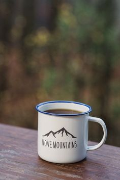 Sip your morning coffee from this rugged enamel-plated steel mug.