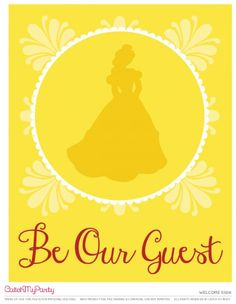 Free Beauty and the Beast Printables Welcome sign | CatchMyParty.com