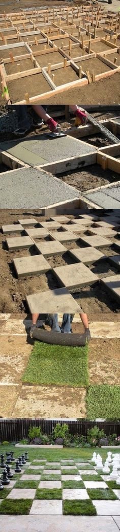 to Create a Chessboard Patio Make a Giant Chess Board In the Backyard - good grass choice. Wonder what else could be used besides grass?Make a Giant Chess Board In the Backyard - good grass choice. Wonder what else could be used besides grass? Garden Crafts, Garden Projects, Giant Chess, Yard Games, Outdoor Projects, Outdoor Fun, Dream Garden, Backyard Landscaping, Backyard Patio