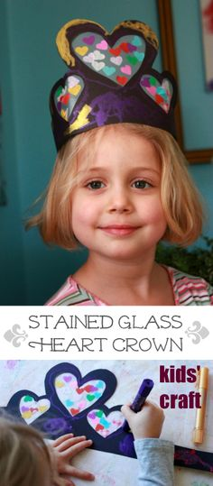 Stained Glass Heart Crowns - a fun kids craft project for Valentine's day and pretend play preschool party Craft Projects For Kids, Crafts For Kids To Make, Craft Activities For Kids, Preschool Crafts, Art For Kids, Craft Ideas, Winter Activities, Kids Crafts, Valentine Crafts For Kids