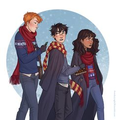 The golden trio Harry, Ron and Hermione Harry Potter Fan Art, Mundo Harry Potter, Harry Potter Drawings, Harry James Potter, Harry Potter Universal, Harry Potter Fandom, Harry Potter Characters, Harry Potter World, Harry Potter Memes
