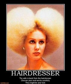 WOW OMG this lady poofed her hair and this is how it turned out sry lady ur hairdo looks ridiculous! White Afro, Terrible Haircuts, Vintage Haircuts, Hairdresser Quotes, Hairstylist Memes, Blonde Afro, Avant Garde Hair, Wild Hair, Hair Raising