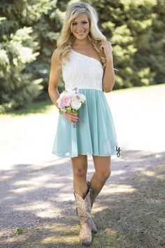 2016 Cheap Country Bridesmaid Dresses For Wedding Short One Shoulder Lace Chiffon Boho Party Dress Modest Knee Length Maid Of Honor Gowns Wedding Bridesmaid Dresses After Six Bridesmaid Dresses From Iathena, $90.46| Dhgate.Com