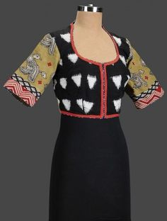 Black-Ochre Embroidered Cotton Blouse