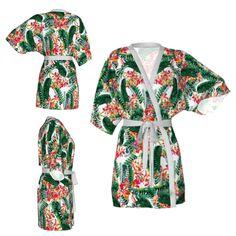 Kimono robe,flloral robe,tropical robe,exotic flower kimono,floral kimono,Bridesmaid robe,getting ready robes,Bridesmaids gift,Bridal Robe by OkopipiDesign on Etsy