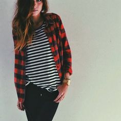 plaid + stripes...hmm never thought to put the two together I love it!