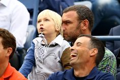 Liev Schreiber and Samuel Schreiber Photos Photos - Liev Schreiber and his son Samuel Schreiber watch as Marin Cilic of Croatia plays against Kei Nishikori of Japan during the men's singles final match on Day fifteen of the 2014 US Open at the USTA Billie Jean King National Tennis Center on September 8, 2014 in the Flushing neighborhood of the Queens borough of New York City. - 2014 U.S. Open - Day 15