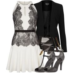 Allison Inspired Black/White Formal Outfit by veterization on Polyvore featuring polyvore, fashion, style, BCBGMAXAZRIA, Topshop, Seychelles, River Island and Dr.Hauschka