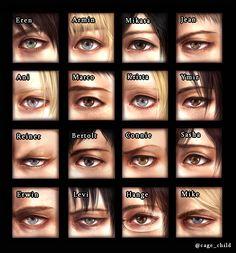 Eren, Armin, Mikasa, Jean, Ani, Marco, Krista, Ymir, Reiner, Bertolt, Connie, Sasha, Erwin, Levi, Hange, & Mike