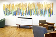 """Stick Together"" // modern painted wood wall sculpture, a custom piece of installation art for an office space // corporate interior design //  by Rosemary Pierce Modern Art"