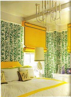 Jonathan Adler - Design #green #yellow #bedroom