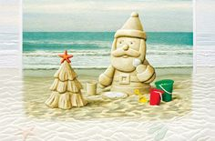 Sandy Claus Embossed Christmas Cards