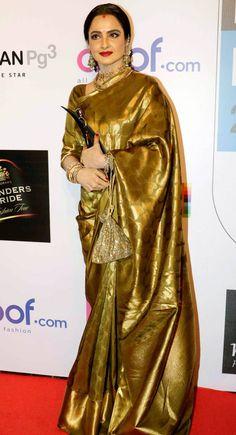 Rekha at Hindustan Times Most Stylish Awards 2016. #Bollywood #Fashion #Style #Beauty #Hot #Desi #Saree