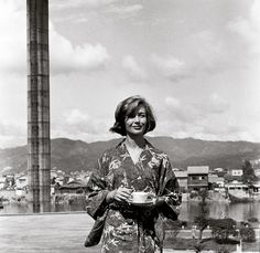 Emmanuelle Riva at the film set of Hiroshima Mon Amour, 1958. photo by Sylvette Baudrot