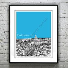 Washington DC Poster Skyline  Print Art Capitol Building Version 2 on Etsy, $18.95