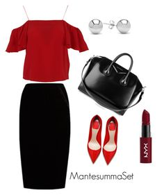 """❤️🖤"" by mantesummaset on Polyvore featuring мода, Givenchy, Jupe By Jackie, Fendi, Jewelonfire и NYX"