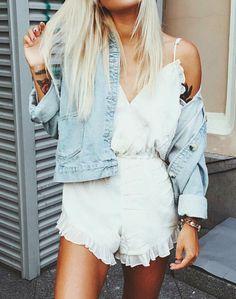 white ruffle romper + denim jacket