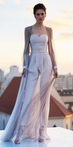 Trend 27 Wedding Pantsuit And Jumpsuit Ideas ★ wedding pantsuit ideas sweetheart strapless simple with cape unona Wedding Pantsuit, Wedding Dress Suit, Wedding Dresses, Wedding Trouser Suits, Wedding Suits For Bride, Bride Suit, Womens Wedding Suits, Wedding Attire For Women, Jumpsuit Dress