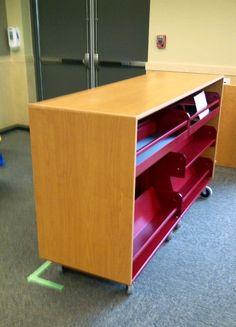 David Lane Office Furniture   Custom Library Dual Mobile Cart With Metal  Shelves.