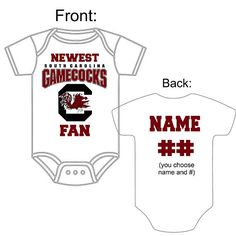 In this house southern sayings gamecocks south carolina usc sec newest south carolina gamecocks fan custom made personalized football gerber onesie jersey choose name number great new baby shower gift negle Images