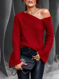 Style:Fashion Pattern Type:Solid Neckline:Off Shoulder Sleeve Style:Long Sleeve Decoration:Bell Sleeve Length:Regular Occasion:Casual Package Blouse Note: There might be difference according to manual measurement. Mode Outfits, Casual Outfits, Fashion Outfits, Womens Fashion, Fashion Fashion, Fashion Blouses, Fashion 2018, Jean Outfits, Ladies Fashion