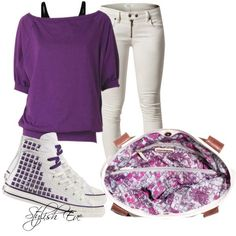 """""""Purple Converse Outfit!"""" by stylisheve on Polyvore"""