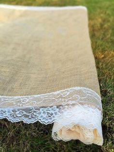 SALE Wedding burlap aisle runner with by FantasyFabricDesigns