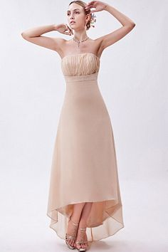 Cheap Maid of Honor Dresses Strapless Nude Chiffon Short Frong and Long Back Bridesmaid Gowns Vestidos Cheap Homecoming Dresses, Bridesmaid Dresses, Wedding Dresses, Silhouette, Top Mode, Maid Of Honour Dresses, Evening Dresses, Formal Dresses, Strapless Dress