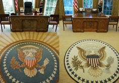 white house oval office | New York Magazine referred to the Obama Oval Office rug (right) as the ...