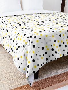 'White Yellow Black Dot Design' Comforter by Shane Simpson College Dorm Rooms, College Dorm Bedding, Black Dots, Yellow Black, Dots Design, Make Your Bed, Square Quilt, Quilt Patterns, Comforters