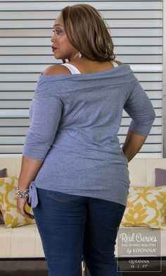 """Real Curve Cutie Queanna (5'7"""" and a size 1x) shows off our plus size Dream Departure Top.  www.kiyonna.com  #KiyonnaPlusYou  #Plussize  #MadeintheUSA  #Kiyonna  #OOTD  #Casual"""