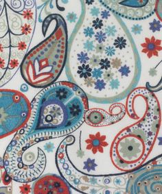 "Classic Liberty Fabric.  ""Mark is a contemporary paisley, it was designed by Liberty's in-house studio in 1999. This hand-painted pattern is based on Islamic calligraphy. MARK, C, LIBERTY ART FABRICS."""