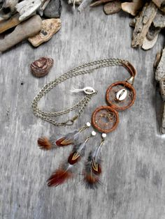 """Necklace DREAMCATCHER """"Native American Inspired"""", Leather, Cowrie shell, Bone beads, Picasso beads, Feathers"""