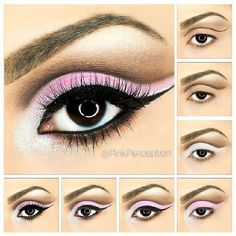 Bright pink cut crease step by step makeup tutorial #maquiagem #evatornadoblog #cutcrease #loveit Ярко-розовый макияж с выделенным веком