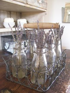 dried lavender in glass jars for home decoration