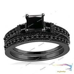 1.20 Ct Black Diamond Engagement & Wedding Ring Set 14k Black Gold Princess Cut