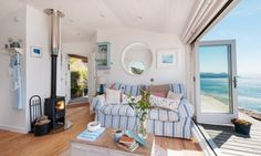 The Edge Beach Cabin Whitsand Bay, Cornish Beach Cabin with Seaviews Small Log Burner, Small Wood Burning Stove, Small Stove, White Wall Tiles, White Walls, Tiny House Living, Home And Living, Cottage Living, Living Rooms
