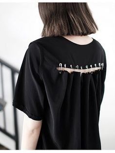 Black T-shirt With Cut Out Back and safety pins