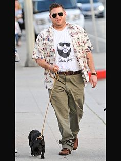 Stars and Their Pets   JONAH HILL   The Oscar-nominated actor hits the pavement in Brentwood, Calif., on Sunday with a super cute – and sniffy!– companion at his feet.