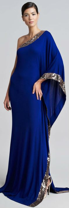 Roberto Cavalli One-Shoulder Sequined Gown in Cobalt Blue