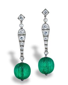 """c6269842c Rapaport Magazine on Instagram: """"These Cartier Mughal emerald, diamond and  pearl earrings belong to jewelry designer and collector Neil Lane."""