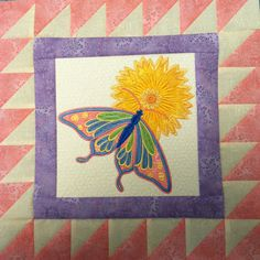 Bees and butterflies by Anita goodesign!  This is going to be a class at sew a lot Centerville, oh 937-433-7474!