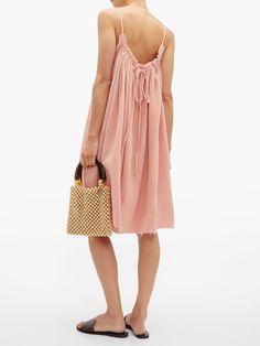 Gather Shortie cotton-gauze dress | Loup Charmant | MATCHESFASHION UK Boho Fashion, Fashion Outfits, Gauze Dress, Beach Wear Dresses, Beachwear, Pink Ladies, Cold Shoulder Dress, Women Wear, Cotton