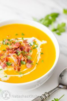 Sweet Potato Soup Recipe - creamy without using any cream! The coconut milk makes it so smooth! Comfort in a bowl. Healthy, easy sweet potato soup recipe.