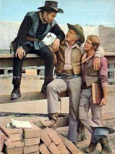 """Cameron Mitchell, Lief Erickson and Mark Slade take a break from filming of TV's """"High Chaparral"""". (Thanx to Marianne Rittner-Holmes.)"""