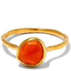 Monica Vinader Gold-Plated Orange Carnelian Siren Stacking Ring ($105) ❤ liked on Polyvore featuring jewelry, rings, monica vinader, band jewelry, gold plated jewellery, stackable band rings and carnelian ring